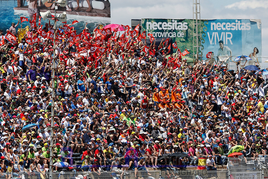 Fans in Motorcycle Championship GP, in Jerez, Spain. April 24, 2016