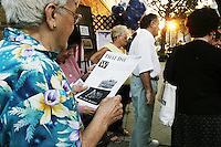 People commemorate the two year anniversary of the September 11th terrorism attacks in New York City.
