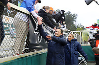 Cary, North Carolina  - Saturday March 24, 2018: Sabrina D'Angelo and Jaelene Hinkle celebrate with fans after a regular season National Women's Soccer League (NWSL) match between the North Carolina Courage and the Portland Thorns FC at Sahlen's Stadium at WakeMed Soccer Park. The Courage won the game 1-0.