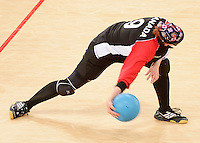LONDON, ENGLAND 09/01/2012:  Nancy Morin of Canada's Goalball Team takes on Team Sweden at the London 2012 Paralympic Games in the Copper Box. (Photo by Matthew Murnaghan/Canadian Paralympic Committee)