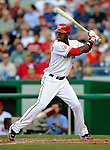 10 July 2008: Washington Nationals' outfielder Roger Bernadina in action against the Arizona Diamondbacks at Nationals Park in Washington, DC. The Diamondbacks defeated the Nationals 7-5 in 11 innings to take the rubber match of their 3-game series in the Nation's Capitol...Mandatory Photo Credit: Ed Wolfstein Photo