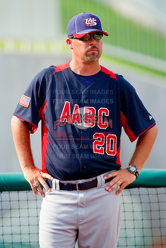 AABC assistant coach Steve Trombley #20 during the game against Babe Ruth at the 2011 Tournament of Stars at the USA Baseball National Training Center on June 26, 2011 in Cary, North Carolina.  Babe Ruth defeated AABC 3-2 in the Gold Medal game. (Brian Westerholt/Four Seam Images)