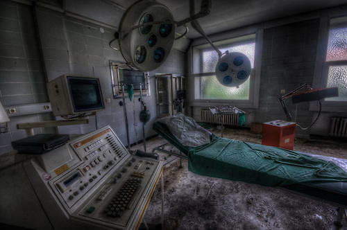 An old abandoned hospital somwhere in the former East Germany.<br /> Operation room.