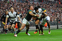 Melani Nanai (Blues) of Barbarians forces his way over to score the opening try during the Killik Cup match between Barbarians and South Africa at Wembley Stadium on Saturday 5th November 2016 (Photo by Rob Munro)