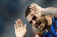 Calcio, Serie A: Milano, stadio Giuseppe Meazza, 15 ottobre 2017.<br /> Inter's Mauro Icardi celebrates after scoring his second goal during the Italian Serie A football match between Inter and Milan at Giuseppe Meazza (San Siro) stadium, October15, 2017.<br /> UPDATE IMAGES PRESS/Isabella Bonotto