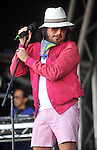The Cuban Brothers  performs on stage  at the big feastival  held at Alex James' farm near Kingham, Oxfordshire 01/09/2012