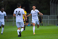Dylan Sacramento celebrates his goal during the ISPS Handa Premiership football match between Wellington Phoenix Reserves and Hawkes Bay United at Porirua Park in Wellington, New Zealand on Sunday, 10 November 2019. Photo: Dave Lintott / lintottphoto.co.nz