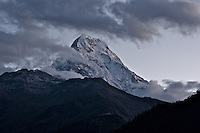 View of mountain of Hiunchuli from Poonhill, Nepal, Annapurna Circuit.  Altitude: 6.441 mts.
