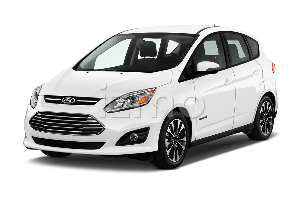 2017 Ford C-Max Hybrid Titanium 5 Door Mini Van angular front stock photos of front three quarter view