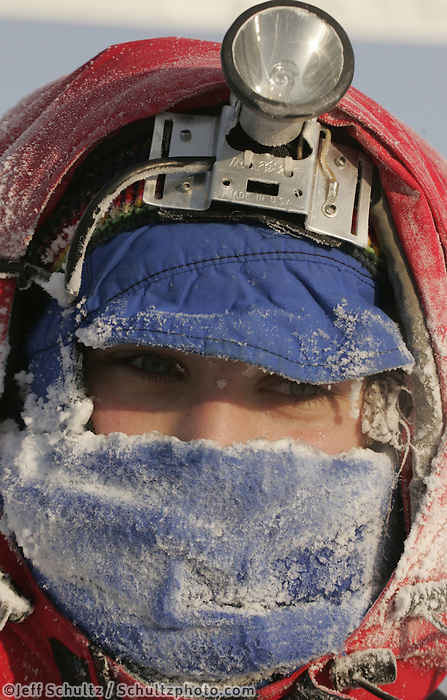 Sunday February 26, 2006 Willow, Alaska.  Jessica Klejka's face show the effects of her run in 15 below zero weather at the finish line of Junior Iditarod Sled Dog Race.  Jessica finished in 7th place.