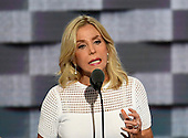 Lauren Manning who spent more than 6 months in the hospital after 9/11 recovering from severe burns, makes remarks during the second session of the 2016 Democratic National Convention at the Wells Fargo Center in Philadelphia, Pennsylvania on Tuesday, July 26, 2016.<br /> Credit: Ron Sachs / CNP<br /> (RESTRICTION: NO New York or New Jersey Newspapers or newspapers within a 75 mile radius of New York City)