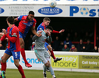 Kevin Lokko of Dagenham goes close with a header during Dagenham & Redbridge vs Hartlepool United, Vanarama National League Football at the Chigwell Construction Stadium on 6th January 2018