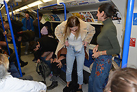'No Trousers On The Tube Day' is back for 2020 to celebrate its 11th anniversary of flashing flesh in London. Londoners strip down to their underwear and ride the tube.<br /> This year, it started in Chinatown, with those taking part arriving in full clothing. Then they are given the signal to part ways with their trousers.<br /> Participants split into groups and take to the London Underground tube trains, travelling around town before returning to O'Neils in Soho for an after-party.<br /> The annual event is part of the worldwide No Pants Subway Ride, which began in New York in 2002. It's since spread to more than 60 cities around the globe, including Berlin, Lisbon and Toronto.<br /> CAP/PL<br /> ©Phil Loftus/Capital Pictures