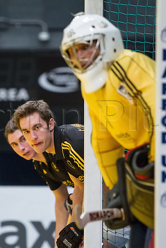 27.01.2013 London, England. Beeston players line up for a penalty corner during the Maxifuel Super Sixes men's semi final game between Reading and Beeston from Wembley Arena