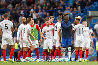 Goal scorers Tammy Abraham of Chelsea and Callum Robinson of Sheffield United during the Premier League match between Chelsea and Sheff United at Stamford Bridge, London, England on 31 August 2019. Photo by Carlton Myrie / PRiME Media Images.