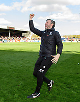 Lincoln City's assistant manager Nicky Cowley celebrate after securing promotion from Sky Bet League Two<br /> <br /> Photographer Chris Vaughan/CameraSport<br /> <br /> The EFL Sky Bet League Two - Lincoln City v Cheltenham Town - Saturday 13th April 2019 - Sincil Bank - Lincoln<br /> <br /> World Copyright &copy; 2019 CameraSport. All rights reserved. 43 Linden Ave. Countesthorpe. Leicester. England. LE8 5PG - Tel: +44 (0) 116 277 4147 - admin@camerasport.com - www.camerasport.com