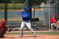 Chicago Cubs catcher Alex Guerra (6) at bat during an Extended Spring Training game against the Los Angeles Angels at Sloan Park on April 14, 2018 in Mesa, Arizona. (Zachary Lucy/Four Seam Images)