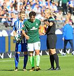 10.09.2017, OLympiastadion, Berlin, GER, 1.FBL, Hertha BSC VS. SV Werder Bremen, im Bild <br /> Mitchell Weiser (Hertha BSC Berlin #23), Delaney (Werder Bremen), Schiedsrichterin  Bibiane Steinhaus<br /> <br /> <br />       <br /> Foto &copy; nordphoto / Engler