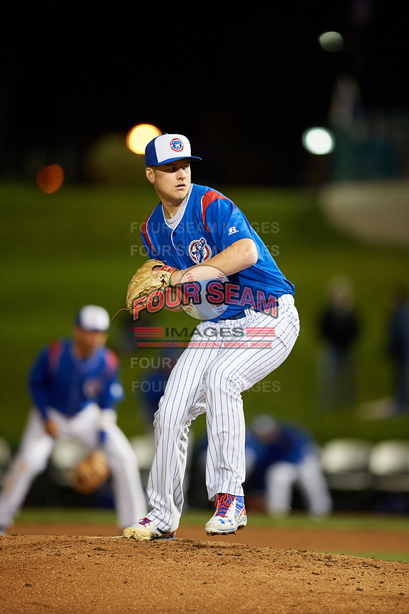 South Bend Cubs relief pitcher Duncan Robinson (29) delivers a pitch during a game against the Clinton LumberKings on May 5, 2017 at Four Winds Field in South Bend, Indiana.  South Bend defeated Clinton 7-6 in nineteen innings.  (Mike Janes/Four Seam Images)