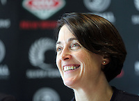 10.12.2015 Silver Ferns coach Janine Southby at a press conference  today in Auckland. Mandatory Photo Credit ©Michael Bradley.