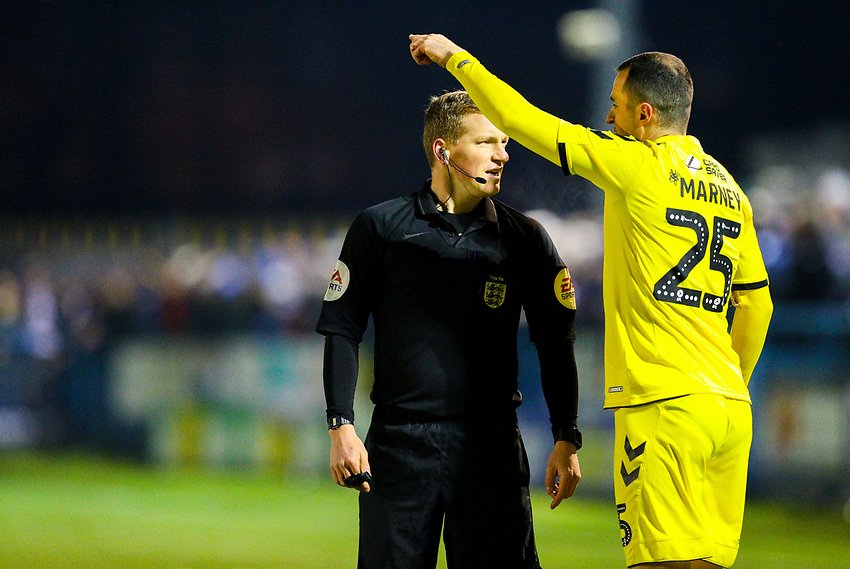 Referee John Busby has a word with Fleetwood Town's Dean Marney<br /> <br /> Photographer Alex Dodd/CameraSport<br /> <br /> The Emirates FA Cup Second Round - Guiseley v Fleetwood Town - Monday 3rd December 2018 - Nethermoor Park - Guiseley<br />  <br /> World Copyright © 2018 CameraSport. All rights reserved. 43 Linden Ave. Countesthorpe. Leicester. England. LE8 5PG - Tel: +44 (0) 116 277 4147 - admin@camerasport.com - www.camerasport.com