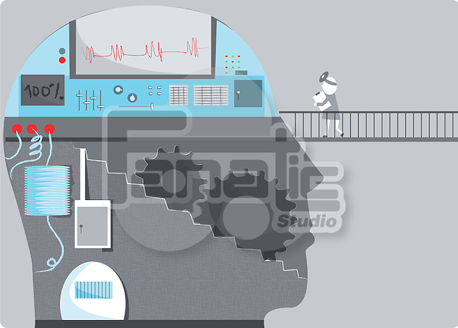 Mechanic with human head consisting of machinery and graph depicting brain mechanism