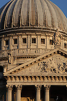 St Paul's Cathedral, 1675 - 1710, architect Sir Christopher Wren : detail of the pediment (c. 1706) by Francis Bird, illustrating the conversion of St Paul, and the dome, one of the largest dome in the world, 111 metres high, London, England, UK. Picture by Manuel Cohen