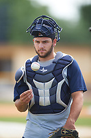 Brevard County Manatees catcher Dustin Houle (9) before a game against the Lakeland Flying Tigers on April 20, 2016 at Henley Field in Lakeland, Florida.  Lakeland defeated Brevard County 5-2.  (Mike Janes/Four Seam Images)