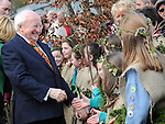 President of Ireland Michael D Higgins meeting school children at the launch of National Tree week in Ardee. Photo: Colin Bell/pressphotos.ie