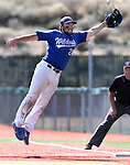 Western Nevada Wildcat's Spenser Dorsey jumps for a foul ball down the first base line in a college baseball game against Colorado Northwestern in Carson City, Nev., on Sunday, March 10, 2013. WNC swept the weekend series 4-0. .Photo by Cathleen Allison/Nevada Photo Source