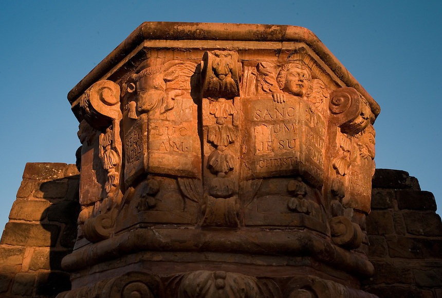 The ornately carved pulpit of the Jesuit mission church at Trinidad de Paraná (acute accent on final a), Paraguay. Scores of Jesuit missions in the area where Paraguay, Argentina and Brazil meet were built in the 17th century and abandoned when the Jesuits were expelled in the 18th century. Ruins of some of these missions still haunt hilltops in the region. (Kevin Moloney for the New York Times)