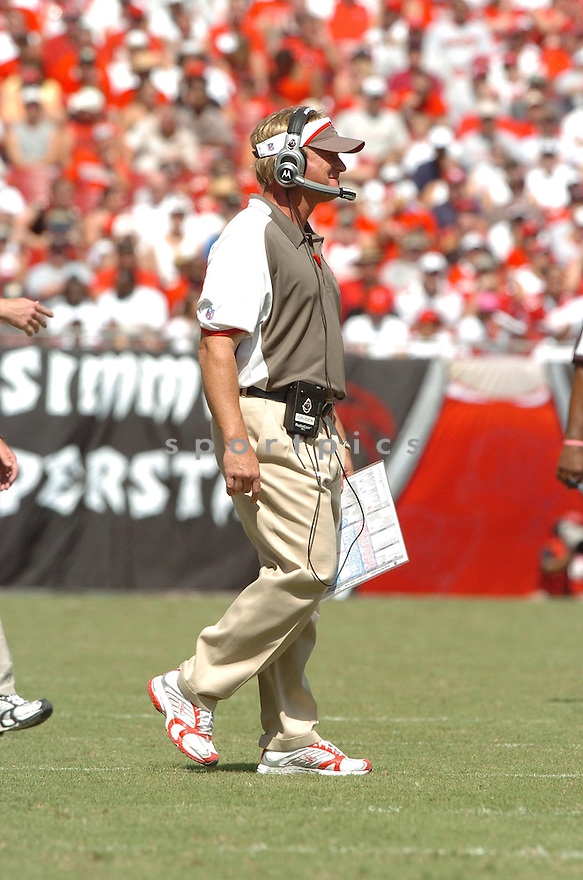 JON GRUDEN, of the Tampa Bay Buccaneers , in action during the Buccaneers games against the Tennessee Titans, in Tampa Bay, FL on October 14, 2007.  ..The Buccaneers won the game 13-10...COPYRIGHT / SPORTPICS..........