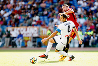 Calcio, Serie A: Roma vs Udinese. Roma, stadio Olimpico, 23 settembre 2017.<br /> Roma&rsquo;s Kevin Strootman, right, is challenged by Udinese&rsquo;s Gabriele Angella during the Italian Serie A football match between Roma and Udinese at Rome's Olympic stadium, 23 September 2017. Roma won 3-1.<br /> UPDATE IMAGES PRESS/Riccardo De Luca