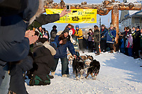 Musher Conner Thomas on Front Street in Nome for the start of the 2008 All Alaska Sweepstakes 100 year commemorative sled dog race.