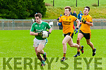 Ballyduff's Jack Goulding wins the ball from Listowel Emmett's Niall Collins & Catha lKeane  in the semi-final of the Bernard O'Callaghan Memorial Senior football Championship sponsored by McMunn bar & Restaurant played in Brosna  on Sunday last.