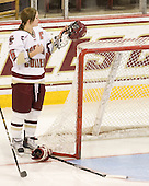 Kelli Stack (BC - 16) - The Boston College Eagles and the visiting University of New Hampshire Wildcats played to a scoreless tie in BC's senior game on Saturday, February 19, 2011, at Conte Forum in Chestnut Hill, Massachusetts.