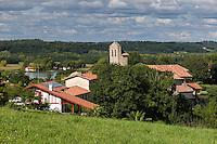 France, Aquitaine, Pyrénées-Atlantiques, Pays Basque, Lahonce: L'abbaye de chanoines de Prémontré, actuellement église paroissiale de l'Assomption-de-la-Bienheureuse-Vierge-Marie et la vallée de l'Adour //  France, Pyrenees Atlantiques, Basque Country, Lahonce: the  village and Adour Valley