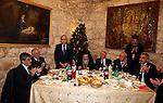"""Palestinian Prime Minister Salam Fayyad Participate in the """" Gala dinner"""" the Christmas procession inside the Church of the Nativity in the West Bank town of Bethlehem January 6, 2012. Photo by Mustafa Abu Dayeh"""