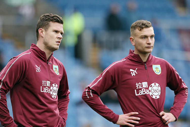 Burnley's Kevin Long (left) and Ben Gibson during the pre-match warm-up <br /> <br /> Photographer Rich Linley/CameraSport<br /> <br /> Emirates FA Cup Third Round - Burnley v Barnsley - Saturday 5th January 2019 - Turf Moor - Burnley<br />  <br /> World Copyright © 2019 CameraSport. All rights reserved. 43 Linden Ave. Countesthorpe. Leicester. England. LE8 5PG - Tel: +44 (0) 116 277 4147 - admin@camerasport.com - www.camerasport.com