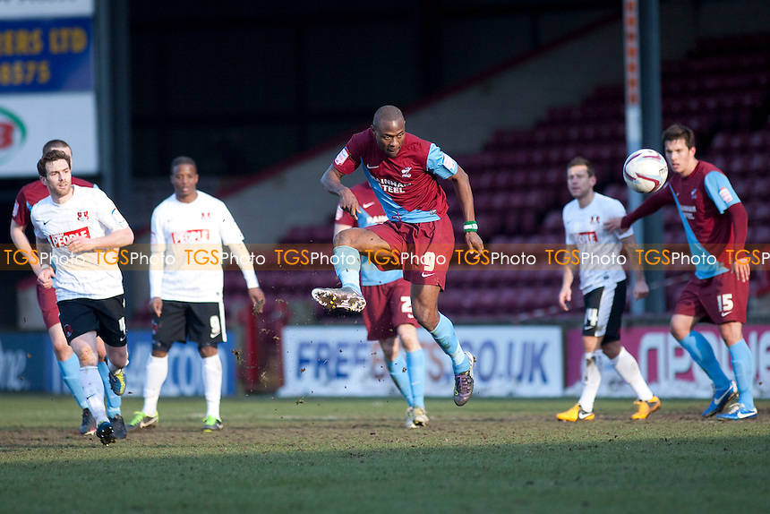 Akpo Sodje (Scunthorpe Utd). - Scunthorpe United vs Leyton Orient - NPower League One Football at Glanford Park - 29/03/13 - MANDATORY CREDIT: Mark Hodsman/TGSPHOTO - Self billing applies where appropriate - 0845 094 6026 - contact@tgsphoto.co.uk - NO UNPAID USE.