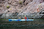 Kayaking, no model release, on the Colorado River below Hoover Dam on border of Arizona, AZ, Nevada, NV, tourism, vacation, sports, action, image nv419-18643.Photo copyright: Lee Foster, www.fostertravel.com, lee@fostertravel.com, 510-549-2202