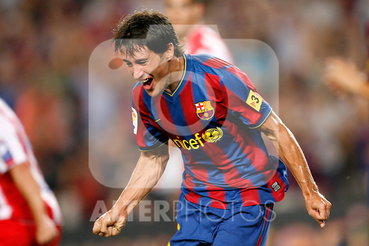 FC Barcelona's Bojan Krkic celebrates goal during  La Liga match.August 31 2009. (ALTERPHOTOS/Acero).