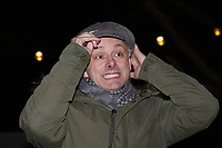 Pictured: Actor Michael Sheen switches on the Christmas Lights in Ystradgynlais, Wales, UK.<br /> Re: Hundreds of people gathered in Ystadgynlais, south Wales, for the Christmas lights switch on by actor Michael Sheen.<br /> The Port Talbot-raised, Hollywood actor led the big countdown to begin the Christmas festivities in Gorsedd Park.<br /> The event comes in the wake of the star taking a shine to the area after filming for a TV programme.