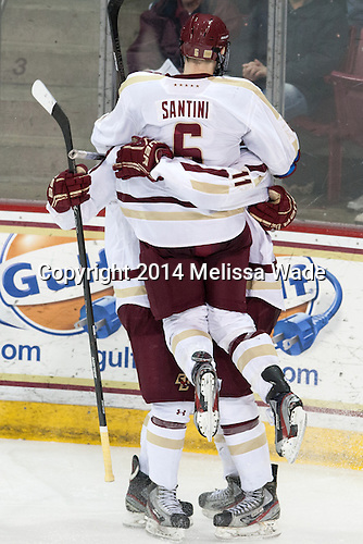 Steven Santini (BC - 6) - The Boston College Eagles defeated the visiting Boston University Terriers 6-4 (EN) on Friday, January 17, 2014, at Kelley Rink in Conte Forum in Chestnut Hill, Massachusetts.