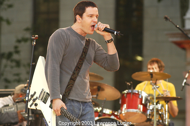 NEW YORK - JUNE 6: Recording artist Stephan Jenkins of Third Eye Blind performs June 6, 2003, at a taping of Good Morning America in Bryant Park in New York City. Photo by Lawrence Lucier)