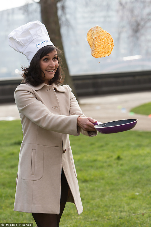 Nina Hossain attends the Rehab Parliamentary Pancake Race, at Victoria Tower Gardens, Westminster in London on March 4th 2014.  Photo by Vickie Flores