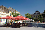 Cafes in the main square of the colourful old town area of Sremski Karlovci, Serbia, Europe