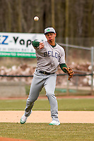 Beloit Snappers infielder Edwin Diaz (12) throws to first during a Midwest League game against the Wisconsin Timber Rattlers on April 10th, 2016 at Fox Cities Stadium in Appleton, Wisconsin.  Wisconsin defeated Beloit  4-2. (Brad Krause/Four Seam Images)