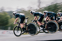 Team Wiggle-Hi5 speeding off the start ramp<br /> <br /> UCI WOMEN'S TEAM TIME TRIAL<br /> Ötztal to Innsbruck: 54.5 km<br /> <br /> UCI 2018 Road World Championships<br /> Innsbruck - Tirol / Austria