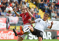20170803 - BREDA , NETHERLANDS : Danish Maja Kildemoes (L) and Austrian Laura Feiersinger (R) pictured during the female soccer game between Denmark and Austria  , the semi final at the Women's Euro 2017 , European Championship in The Netherlands 2017 , Thursday 3th of August 2017 at Stadion Rat Verlegh in Breda , The Netherlands PHOTO SPORTPIX.BE | DIRK VUYLSTEKE